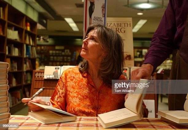 Author Elizabeth Berg sign books and talks with fans at Olsson's Books Records in downtown Washington DC May 17 2002