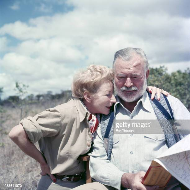 Author Ernest Hemingway and his wife Mary pose for a photo while on a big game hunt in September 1952 in Kenya.