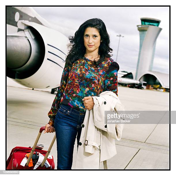 Author Fatima Bhutto is photographed at the Farnborough airport for Vogue Magazine on July 2 2010 in Farnborough England Published image