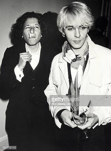 Author Fran Lebowitz and musician Nick Rhodes of Duran Duran attending the book party for Holy TerrorAndy Warhol Close Up on August 8 1990 at th...