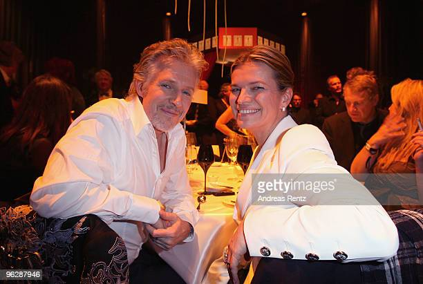 Author Frank Schaetzing and Sabina Valkieser-Schaetzing attend the after show party to the Goldene Kamera 2010 Award at the Axel Springer Verlag on...