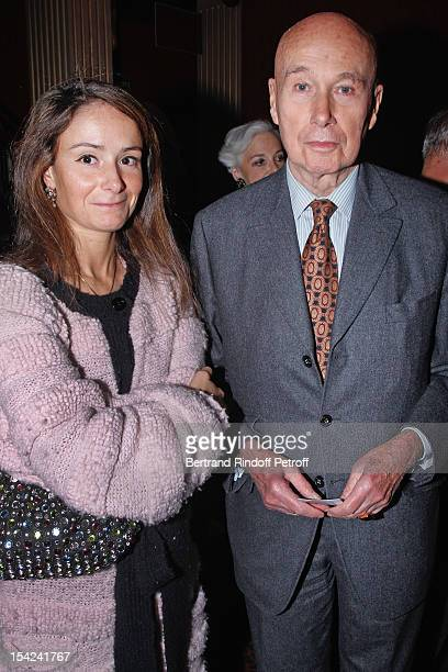 Author Gabriel Matzneff and guest attend 'La Conversation' By Jean D'Ormesson at Theatre Hebertot on October 16 2012 in Paris France