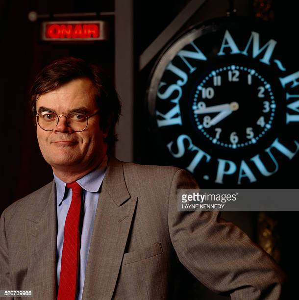 Author Garrison Keillor host of the radio program A Prairie Home Companion prepares for a performance at the Fitzgerald Theater formerly the World...