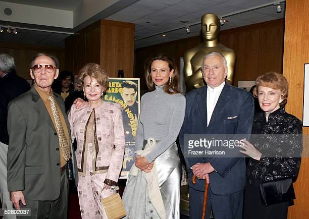 Author Gavin LambertCora Sue Collins actress Lena Olin Gore Vidal author and Joan Leslie actress at the Academy of Motion Picture Arts and Sciences...