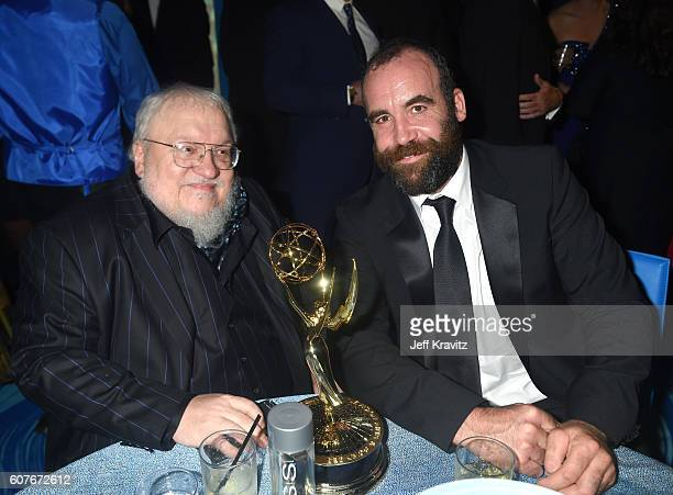 Author George R R Martin and actor Rory McCann attend HBO's Official 2016 Emmy After Party at The Plaza at the Pacific Design Center on September 18...