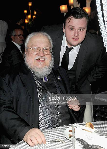 Author George RR Martin and John Bradley attend Game Of Thrones Season 4 New York Premiere After Party at Avery Fisher Hall Lincoln Center on March...