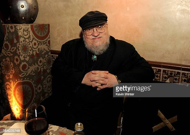 """Author George R.R. Martin poses at the after party for the premiere of HBO's """"Game Of Thrones"""" at the Roosevelt Hotel on March 18, 2013 in Los..."""