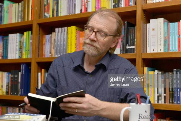 Author George Saunders signs copies of his new book Lincoln in the Bardo at Books and Books on February 19 2017 in Coral Gables Florida
