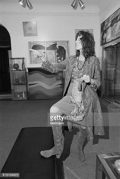 Author Germaine Greer shown in lobby of Chelsea Hotel where she is staying.