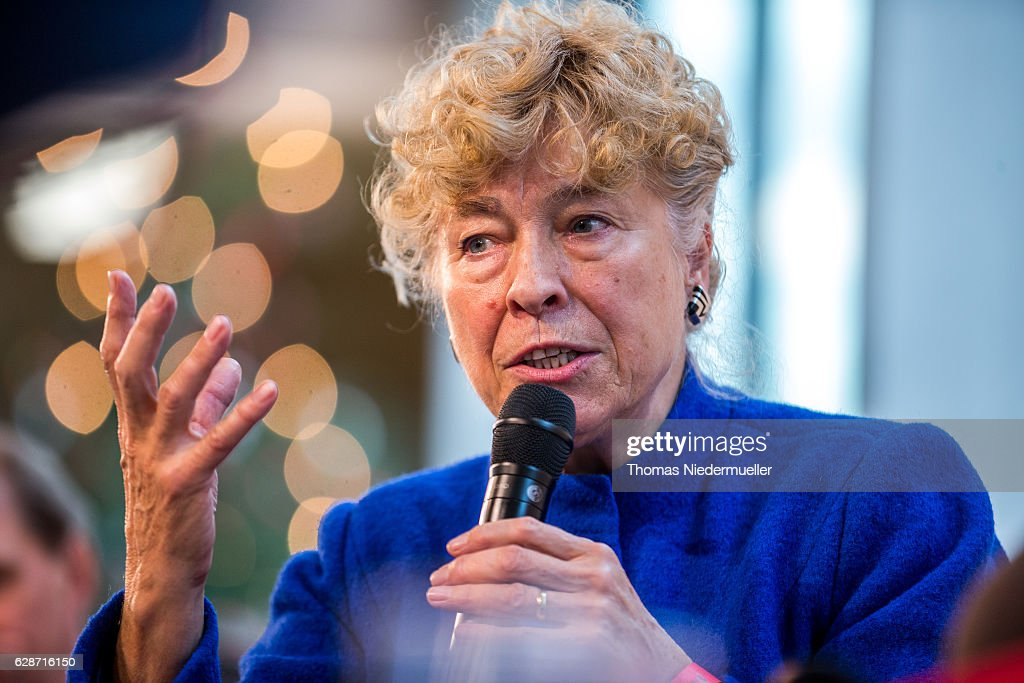 Author Gesine Schwan talks during the celebtration of the 90th Birthday of Social Democrats Party (SPD) member Erhard Eppler on December 9, 2016 in Stuttgart, Germany.