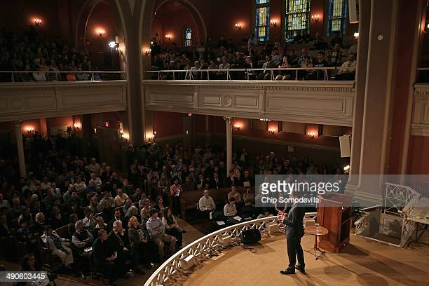 Author Glenn Greenwald speaks at a book discussion at the Sixth I Historic synagogue May 14 2014 in Washington DC Greenwald published National...