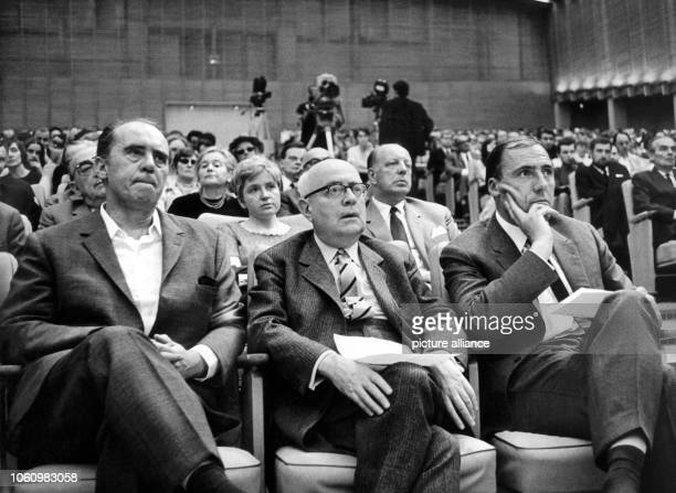 Author Heinrich Böll Sociologist Theodor Adorno and Publisher Siegfried Unseld on 28 May 1968 at an event against the German Emergency Acts in the...
