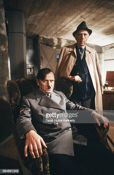 Author Herman Wouk who wrote the acclaimed novels 'Winds of War' and its sequel 'War and Remembrance' pose with actor Steven Berkoff during the...