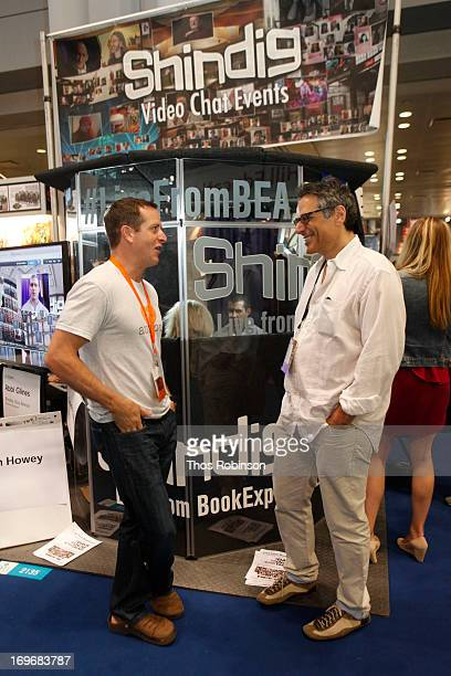 Author Hugh Howey and Steve Gottlieb, founder & CEO, Shindig attend Shindig Hosts Live Video Chats with over Fifty Authors at BookExpo America 2013...