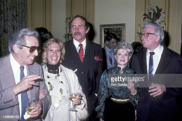 Author Irving Wallace TV personality Dinah Shore author Thomas Tompson film critic Judith Crist and author Sidney Sheldon attend the Party for Tommy...