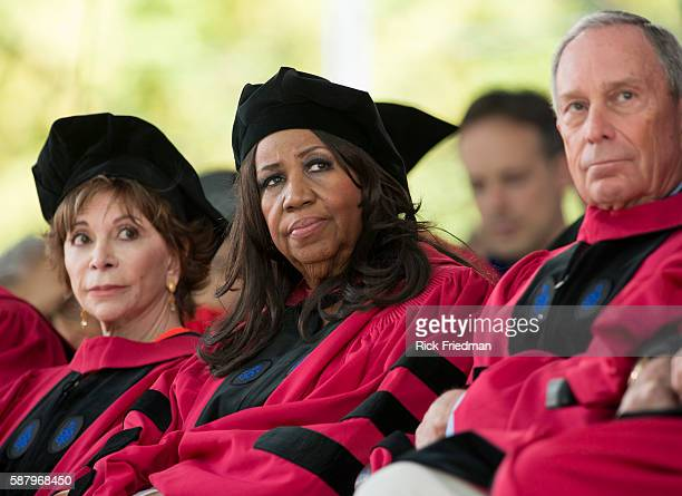Author Isabel Allende Aretha Franklin Queen of Soul and Michael Bloomberg former New York City Mayor during the Harvard University Commencement...