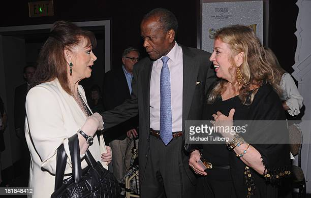 Author Jackie Collins actor Sidney Poitier and wife Joanna Shimkus attend Still LaughIn A Toast To George Schlatter presented by Pepperdine...