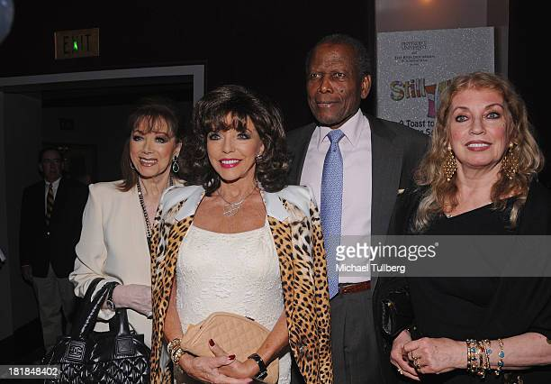Author Jackie Collins actress Joan Collins actor Sidney Poitier and wife Joanna Shimkus attend Still LaughIn A Toast To George Schlatter presented by...