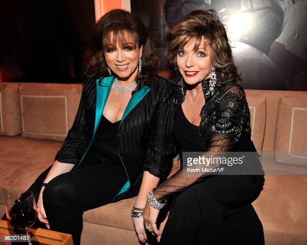 WEST HOLLYWOOD CA FEBRUARY 22 Author Jackie Collins and actress Joan Collins attends the 2009 Vanity Fair Oscar party hosted by Graydon Carter at the...