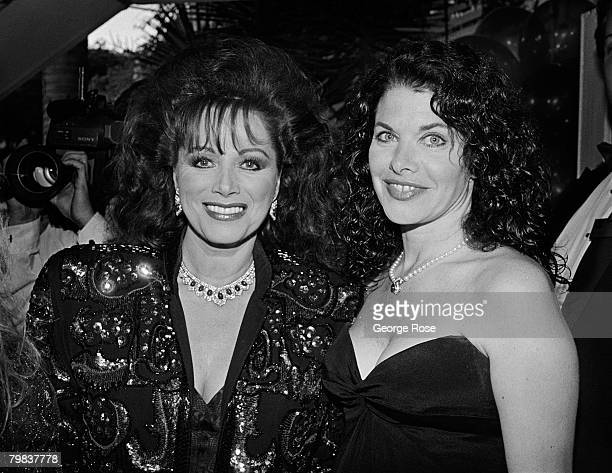 Author Jackie Collins and film producer Sherry Lansing arrive at the 1989 West Hollywood California Irving Swifty Lazar Oscar Party held at Spago