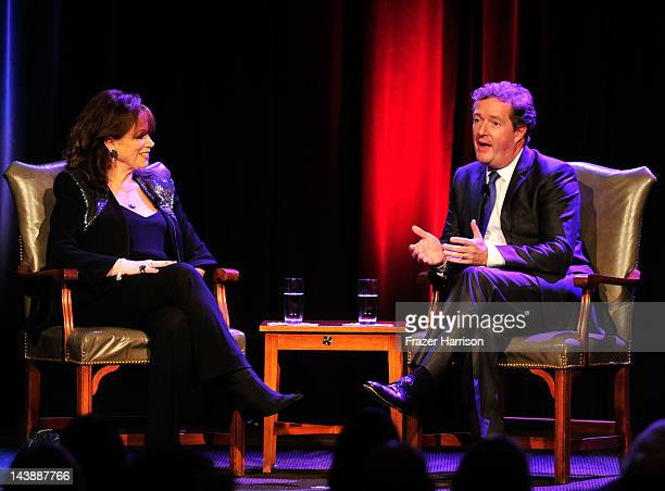 Author Jackie Collins and Television Personality Piers Morgan on stage at BritWeek 2012's 'An Evening With Piers Morgan In Conversation With Jackie...