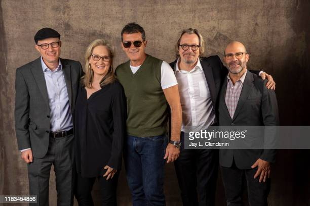Author Jake Bernstein actors Meryl Streep Antonio Banderas Gary Oldman and writer Scott Z Burns from 'The Laundromat' are photographed for Los...