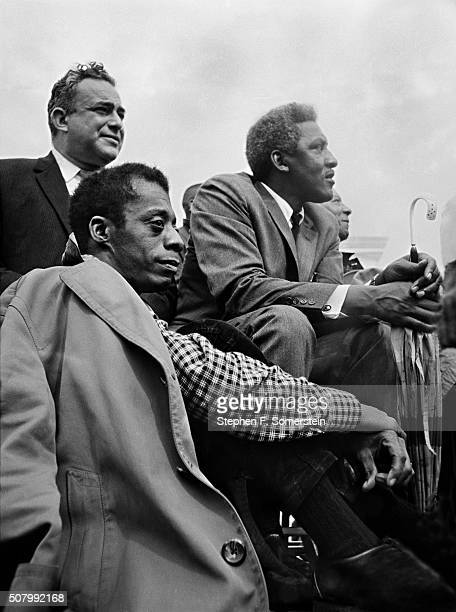 Author James Baldwin civil rights leader and march planner Bayard Rustin and A Philip Randolph president of Brotherhood of Sleeping Car Porters Union...