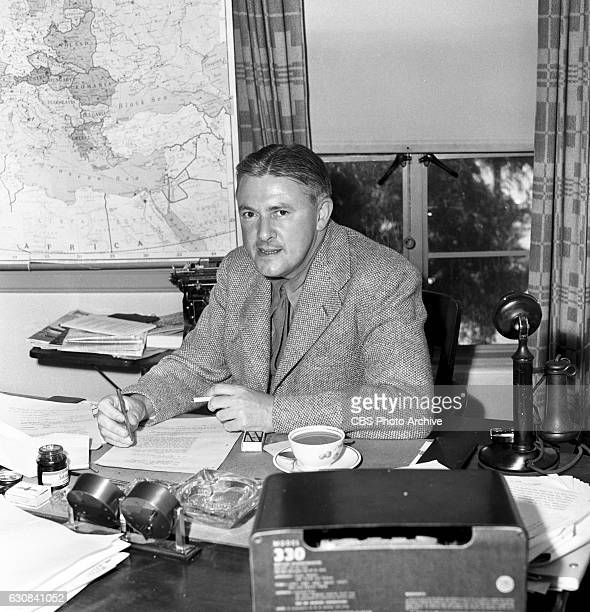 Author James Hilton for the CBS Radio program Ceiling Unlimited a patriotic and wartime drama The show is sponsored by Lockheed Vega Aircraft Image...