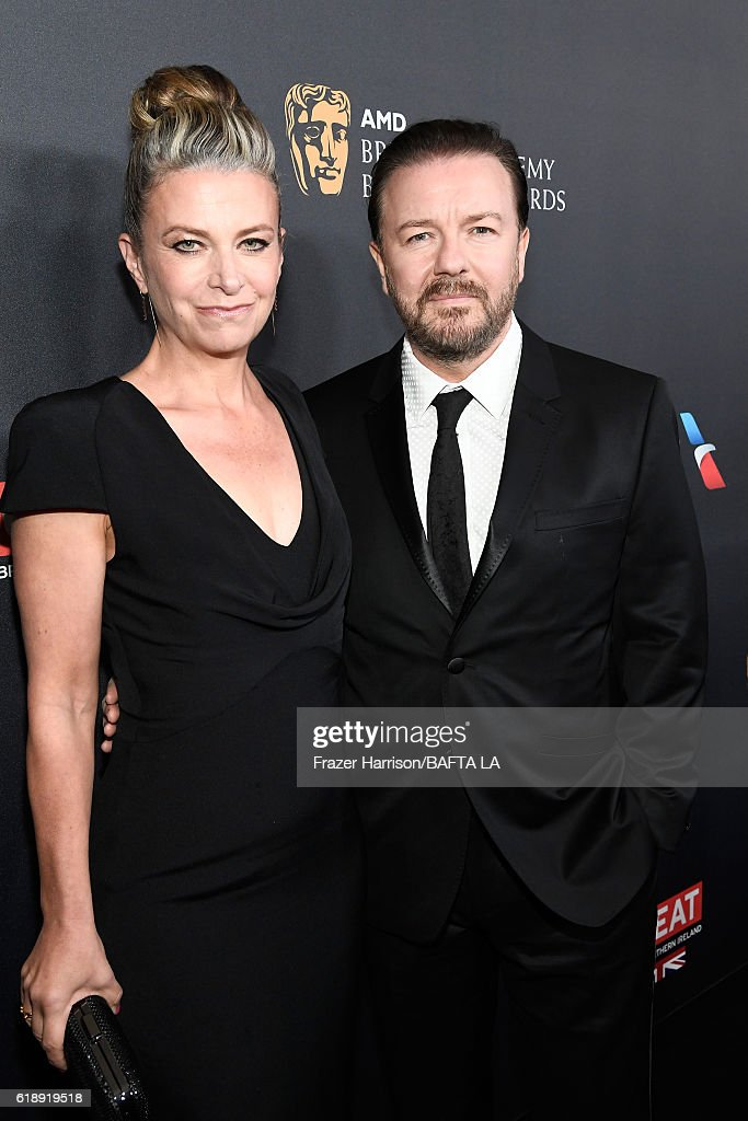 Author Jane Fallon (L) and actor Ricky Gervais attend the 2016 AMD British Academy Britannia Awards presented by Jaguar Land Rover and American Airlines at The Beverly Hilton Hotel on October 28, 2016 in Beverly Hills, California.