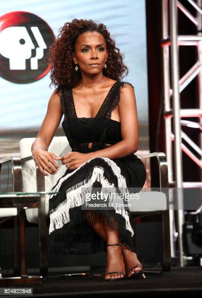 Author Janet Mock of 'Finding Your Roots' speaks onstage during the PBS portion of the 2017 Summer Television Critics Association Press Tour at The...