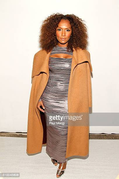 Author Janet Mock poses backstage at the Christian Siriano Fall 2016 fashion show during New York Fashion Week at ArtBeam on February 13 2016 in New...