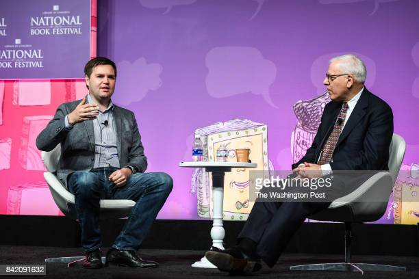 Author JD Vance left speaks during an interview with David M Rubenstein at the 2017 National Book Festival on Saturday September 2 that is held at...