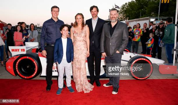 Author Jeff Kinney Jason Drucker Alicia Silverstone Tom Everett Scott and director David Bowers appear at the premiere of Diary of a Wimpy Kid The...