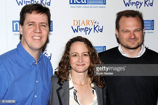 Author Jeff Kinney producers Nina Jacobson and Brad Simpson attend the premiere of Diary Of A Wimpy Kid at the Ziegfeld Theatre on March 4 2010 in...