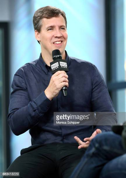 Author Jeff Kinney speaks on stage during Build Presents Jeff Kinney Discussing Diary Of A Wimpy Kid The Long Haul at Build Studio on May 15 2017 in...