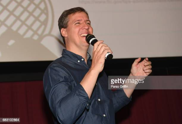 Author Jeff Kinney speaks onstage at Diary Of A Wimpy Kid The Long Haul Atlanta screening hosted by Dwight Howard at Regal Atlantic Station on May 14...