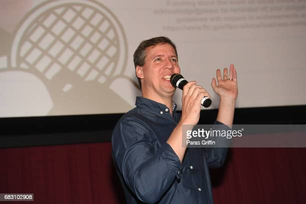 """Author Jeff Kinney speaks onstage at """"Diary Of A Wimpy Kid: The Long Haul"""" Atlanta screening hosted by Dwight Howard at Regal Atlantic Station on May..."""