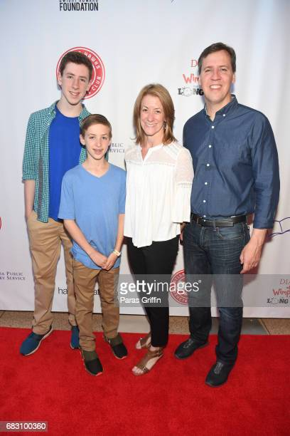 Author Jeff Kinney with family attend Diary Of A Wimpy Kid The Long Haul Atlanta Screening hosted by Dwight Howard at Regal Atlantic Station on May...