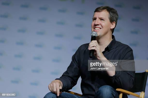 Author Jeff Kinneyr speaks during the 10 year anniversary of Diary of a Wimpy Kid discussion at the BookCon 2017 at Javits Center on June 3 2017 in...