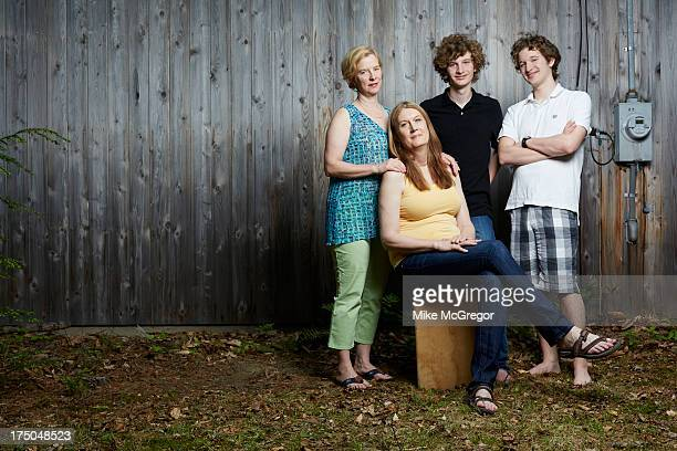 Author Jennifer Finney Boylan and family wife Deedie sons Sean and Zach are photographed for The London Times on June 3 2013 in Rome Maine
