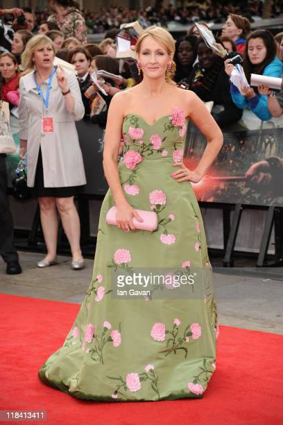 Author JK Rowling attends the World Premiere of Harry Potter and The Deathly Hallows Part 2 at Trafalgar Square on July 7 2011 in London England