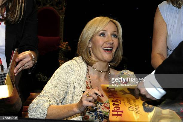 Author JK Rowling holds a press conference and book signing for Los Angeles Unified School District school children October 15 2007 at The Kodak...