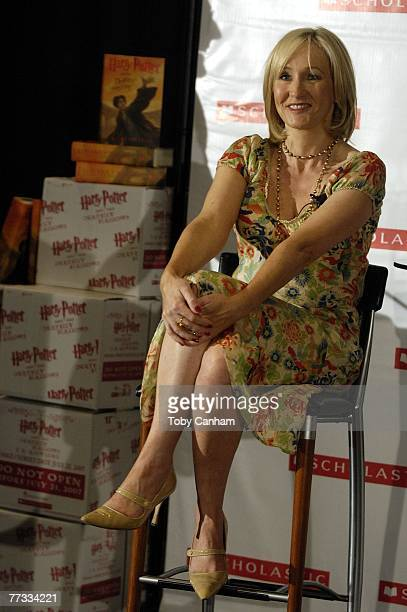 Author J.K. Rowling holds a press conference and book signing for Los Angeles Unified School District school children October 15 2007, at The Kodak...