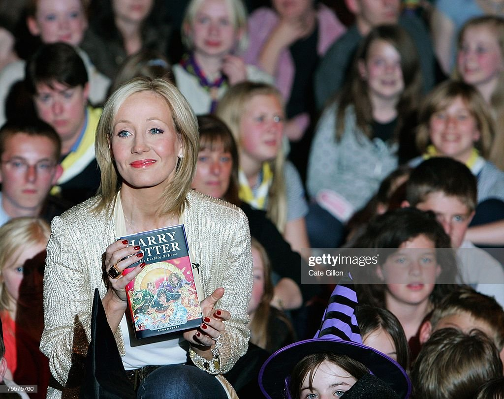 Author J.K. Rowling meets fans at a reading and signing of her of her latest novel 'Harry Potter and the Deathly Hallows' at the Natural History Museum on July 20, 2007 in London, England. This the final of seven novels in the Harry Potter collection, which goes on sale from one minute past midnight.
