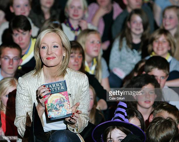 Author JK Rowling meets fans at a reading and signing of her of her latest novel Harry Potter and the Deathly Hallows at the Natural History Museum...