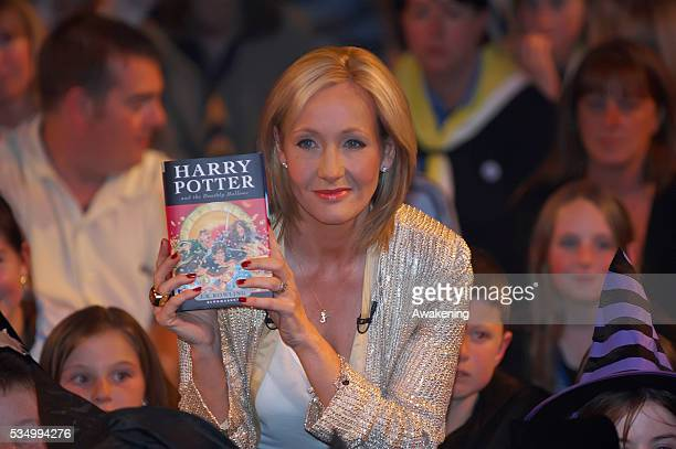 Author JK Rowling presents to a selected audience of fans waiting to have their book signed the seventh and final Harry Potter book at the National...