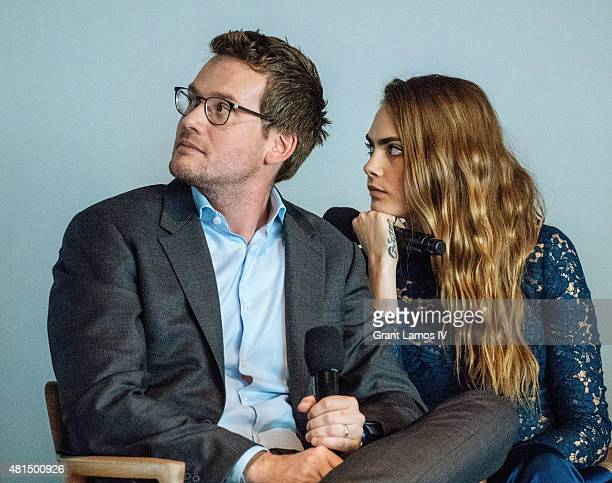 """Author John Green and Cara Delevingne attend the Meet the Filmmaker: Jake Schreier, John Green, Cara Delevingne, and Nat Wolff, """"Paper Towns"""" at..."""