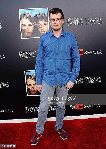 Author John Green attends the Paper Towns QA and live concert at YouTube Space LA on July 17 2015 in Los Angeles California