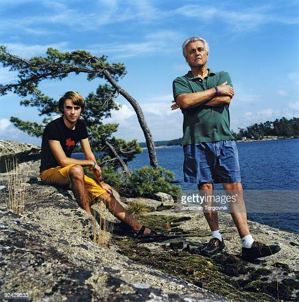 Author John Irving at his summer home with son Everett on August 18 2009 in Pointe au Baril Ontario Canada Published image