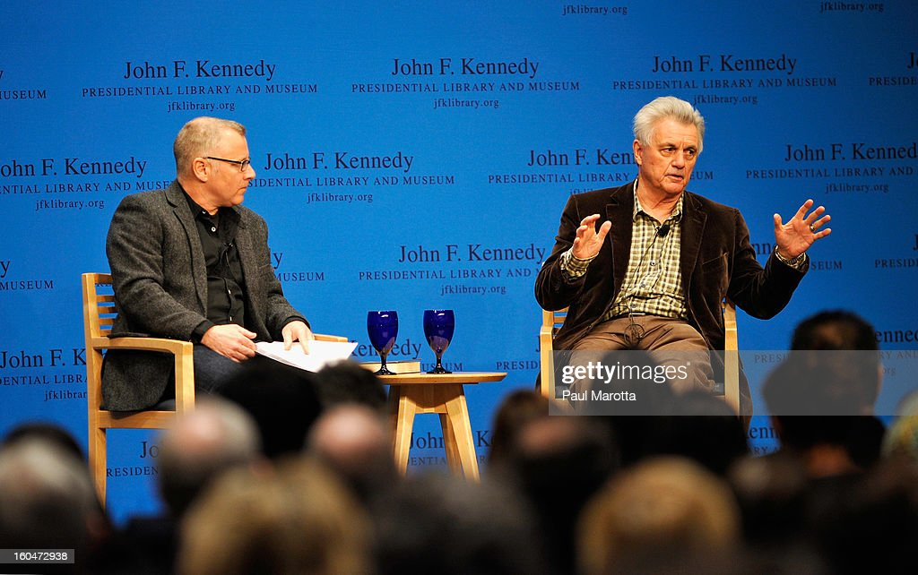 Author John Irving discusses his latest novel 'In One Person' with novelist Tom Perrotta at The John F. Kennedy Presidential Library And Museum on January 31, 2013 in Boston, Massachusetts.